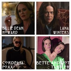 Sarah Paulson's characters throughout the seasons | American Horror Story | Murder House, Asylum, Coven, Freakshow
