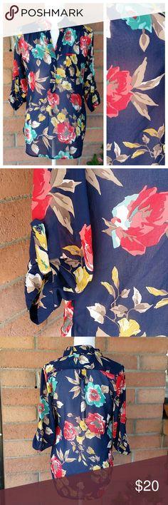 XTAREN floral blouse size small Beautiful XTaren blouse in a navy blue with floral print. 100% Polyester. XTaren Tops Blouses