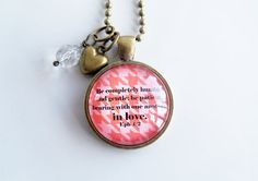Scripture Necklace  Eph 4:2  Christian Jewelry   by OxfordBright