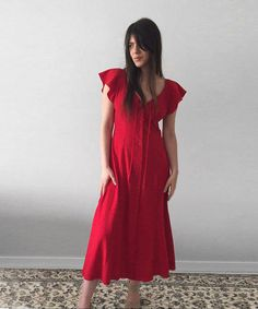 VINTAGE Red   M Collection  1990s Maxi Dress