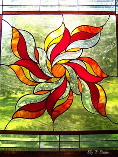 Sunburst Stained Glass Panel by GlitzAndGrandeur on Etsy