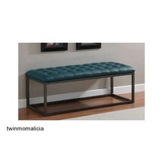 Leather Tufted Bench Teal Blue Seat Ottoman Entranceway Black Furniture Benches