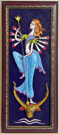 Goddess Durga - Wall Hanging (Poly Resin on Hardboard))