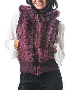 (CLICK IMAGE TWICE FOR DETAILS AND PRICING) Faux Fur Distressed Hoodie Vest Burgundy. Wear this vest with your favorite jeans or leggings and keep warm in the upcoming fall_winter months.  Featuring a drawstring hoodie and a ribbed waist and sleeves.. See More Coats and Jackets at http://www.ourgreatshop.com/Coats-and-Jackets-C76.aspx