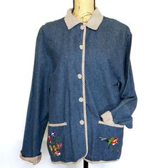 Women's Teddi Denim Shirt Jacket Medium Floral Embroidery Pockets Gingham Check #Teddi #ButtonDownShirt #Casual