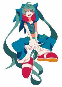 Hatsune Miku In Sonic the Hedgehog Cosplay