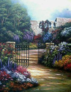 Egidio Antonaccio Garden Path Gallery Wrapped Canvas 16X24