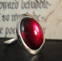 Red Glass Ring - Adjustable Silver - Ruby Scarlet Crimson - Valentine Red Jewelry