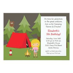 Shop Camping Birthday Party Invitation for Girl created by eventfulcards. Camping Party Decorations, Camping Parties, Camping Theme, Camping Crafts, Bonfire Birthday, Sleepover Birthday Parties, Birthday Ideas, Camping In The Rain, Camping With Kids
