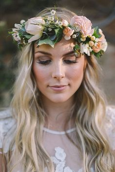 Rustic boho peach wedding flower crown | Katherine Schultz Photography