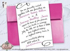 10 Hot Pink and Black Swirly Curly Font 5x7 Basic Simple Wedding Invitations - Wedding party invitations (*Amazon Partner-Link)