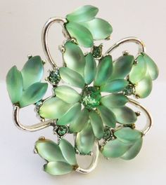 Vintage jewelry brooch in green rhinestones by DevineCollectible, $75.00