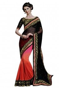 Chiffon Designer Party Wear Saree in Black and Orange and Pink Colour