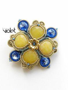 Soutache brooch Cloverleaf Gold by Violetbijoux on Etsy