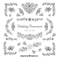 desenhadas mão ornamentos de casamento com folhas Vetor grátis