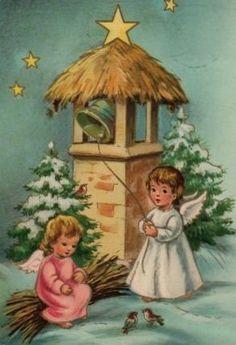 Vintage Angelic Christmas card, in pastels Christmas Card Images, Christmas Scenes, Christmas Past, Vintage Christmas Cards, Retro Christmas, Christmas Bells, Christmas Pictures, Christmas Angels, Christmas Greetings