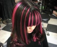 Hair Color Streaks, Hair Dye Colors, Emo Hair Color, Pink Streaks, Cut My Hair, Hair Cuts, Hair Inspo, Hair Inspiration, Photographie Indie