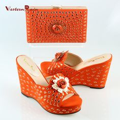14fa888a8cb7 Shoes Matching Shoes Set Flower Crystal Accessories for Party Purse Orange Black  Color