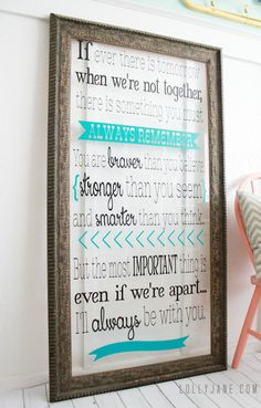 Word art from old frame... just remove the back and add vinyl.