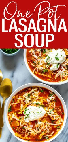 This 30-Minute One Pot Lasagna Soup is the best way to enjoy lasagna without any of the assembly – plus you can freeze the leftovers! #onepot #lasagnasoup Creamy Pasta Recipes, Vegetarian Pasta Recipes, Pasta Sauce Recipes, Chicken Pasta Recipes, Noodle Recipes, Healthy Meals To Cook, Healthy Pastas, Healthy Recipes, Healthy Food