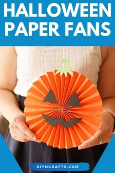 Easy Halloween paper fan decorations are a perfect kid-friendly craft! This paper pumpkin and paper ghost project is perfect for Halloween! A great paper ghost decoration and paper jack o lantern decoration for Halloween parties! Follow this tutorial for your own easy paper craft. #Halloween #JackoLantern #Pumpkin #Ghost #Decor #Party Easy Halloween Crafts, Halloween Parties, Halloween Pumpkins, Halloween Decorations, Paper Fan Decorations, Ghost Decoration, Easy Paper Crafts, Crafts To Make, White Paint Pen