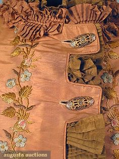 """EMBROIDERED BUSTLE DRESS, 1870s Probably French, light copper & café au lait faille embroidered in silk floss, 9 brass & steel oval buttons, Sh-Sh 14"""", W 25"""", Skirt L 43"""""""