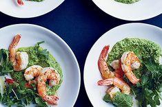 April 23: Pan-Fried Shrimp with Lemony Pea Pesto Walnut Pesto, Zucchini Pesto, Asparagus Pasta, Tomato Pesto, Pesto Sauce, Pesto Recipe, Grilled Cornish Hens