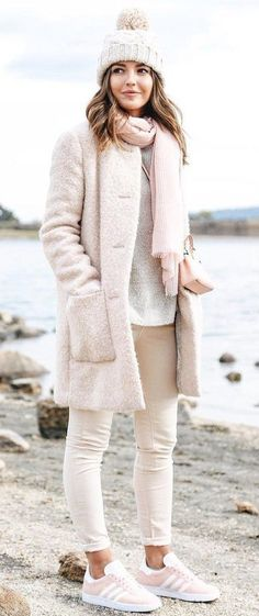 #fall #outfits White Beanie // Light Pink Coat // White Knit // Light Pink Scarf // Cream Jeans // Light Pink Sneakers