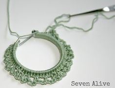 Crocheted Earrings by Kadie at Seven Alive. Free tutorial. Very easy stitches. NICE!