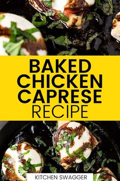 This Chicken Caprese recipe is quick and easy to make, with yummy fresh ingredients. Top baked chicken with a thinly sliced tomato, mozzarella cheese with fresh basil and a balsamic reduction. It's the perfect light meal for summer. Chicken Cutlet Recipes, Marinated Chicken Recipes, Pork Roast Recipes, Chicken Appetizers, Caprese Chicken, Chicken Pasta Recipes, Chicken Cutlets, Chicken Thigh Recipes, Baked Chicken