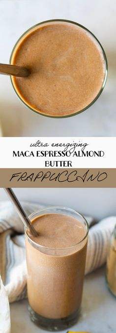 This smoothie tastes just like a Frappuccino! Almond butter, maca, and espresso combine into one healthy, tasty, and energizing drink that's dairy-free and will make you feel great! #almondbutterespressosmoothie #veganfrappuccino Almond Butter Smoothie, Fennel Soup, Vegan Smoothies, Unsweetened Almond Milk, Frappuccino, Pumpkin Spice Latte, Drink Recipes, Food Print, Dates