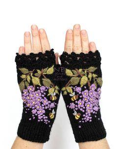 Guantes sin dedos negro lila las abejas guantes y manoplas