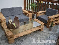 lounge gartenmöbel 2-sitzer palettenmöbel, terrasse vintage design, Garten dekoo