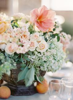 Luscious peach inspired arrangement :: Style Me Pretty