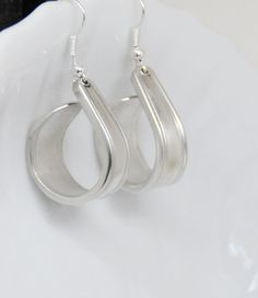 silver plate earrings spoon earrings hoop by TheDishandSpoon