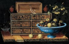 Pedro de Camprobin - Writing Desk with a Small Chest and a Fruit Bowl