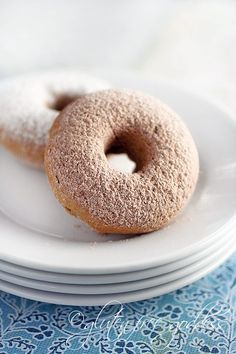 Gluten free baked donuts or doughnuts with a hint of nutmeg and cinnamon