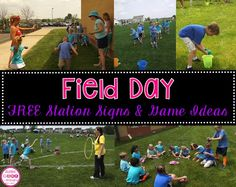 12 FREE Field Day station signs and game ideas