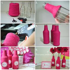 Find images and videos about pink, flower and diy on We Heart It - the app to get lost in what you love. Diy Bottle, Bottle Art, Bottle Crafts, Yarn Bottles, Glass Bottles, Garrafa Diy, Diy Party Decorations, Diy Arts And Crafts, Diy Gifts