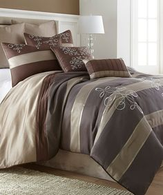 Another great find on #zulily! Brown & Tan Stripe Eight-Piece Comforter Set by Colonial Home Textiles #zulilyfinds