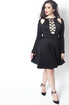 rebdolls mischievous caged and cutout mini skater dress barbara ferreira
