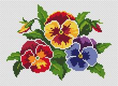 Bouquet of Pansies cross stitch pattern, You can make very unique patterns for materials with cross stitch. Cross stitch designs will nearly amaze you. Cross stitch novices may make the designs they desire without difficulty. Cross Stitching, Cross Stitch Embroidery, Embroidery Patterns, Cross Stitch Rose, Cross Stitch Flowers, Cross Stitch Designs, Cross Stitch Patterns, Pansies, Butterfly Dragon