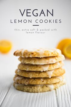 These vegan lemon cookies are every lemon lover's dream-come-true. They're thin, extra soft, and packed with tangy lemon flavour. Drizzle them with sugar lemon glaze for an extra sweet lemony kick! #vegan #lemoncookies Vegan Sweets, Vegan Desserts, Healthy Desserts, Healthy Food, Healthy Eating, Great Vegan Recipes, Vegan Ideas, Easy Vegan Cookies, Cookie Recipes
