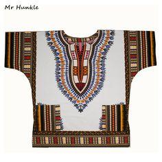 Più SizeXXL, XXXL Vestito Dashiki 100% Cotone Africano Stampa Tradizionale Bianco Dashiki Abbigliamento per le Donne Degli Uomini