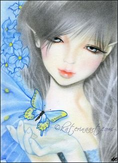 """""""Forget me not Fairy"""" Forget-Me-Not flower Fairy with blue butterfly 5 x 7 Pastel/color Pencil on Bristol Board, 2013 I'm going thought a fairy kick rig. Forget Me Not Fairy Free Cross Stitch Charts, Dmc Cross Stitch, Fantasy Cross Stitch, Cross Stitch Books, Cross Stitch Patterns, Dragons, Spring Fairy, Angel Drawing, Artist Materials"""
