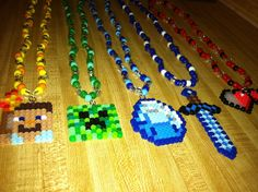 Mine craft perler bead necklaces, that also come off and are keychains! Great for party favors made by me jodie :)