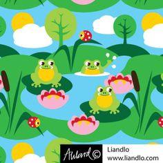 LIANDLO LIANDLO Johanna Ahlard VORSCHAU SCANDINAVISCHES DESIGN Baumwolljersey Small Frogs Frosch Marienkäfer