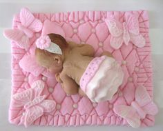 Baby Shower FONDANT BABY pink blanket by DinasCakeToppers on Etsy, $25.00