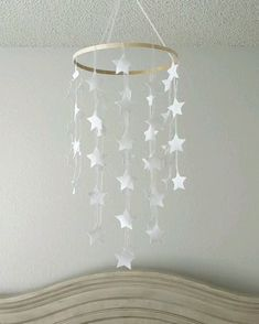 This darling felt mobile is composed of a soft felt stars hung with sheer white ribbon. Star Mobile, Felt Mobile, Baby Mobile, Flat Shapes, Ideias Diy, Easter Crafts For Kids, White Ribbon, Nursery Neutral, Craft Stick Crafts