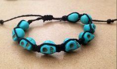 Turquoise Skull Bead Bracelet on soft Black Hemp by SoSheDidShop